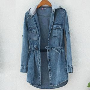 Blue Denim Jean Jacket Long Belted Hooded Coat [grxjy560900] on Luulla