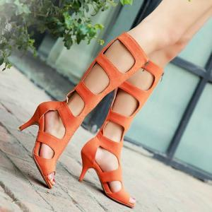 Peep Toe Cut Out Stiletto Heel Gladiator Sandal Boot [grxjy5190452]