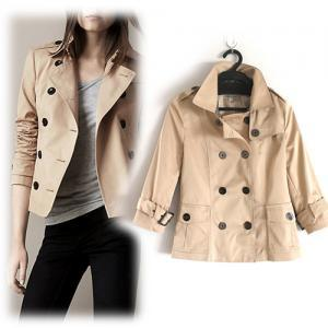 Fashion Double-breasted Pure Color Short Trench Coat [grxjy562234]