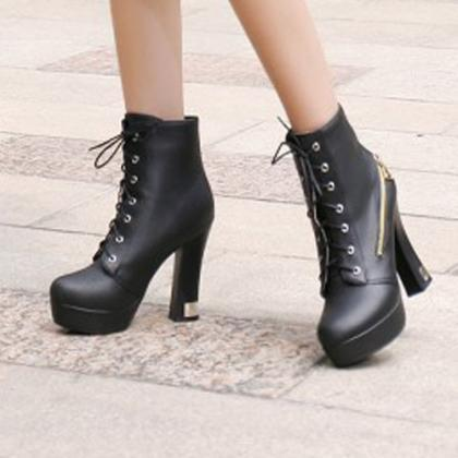 Fashion Thick High-heeled Round Toe Lace UP Martin Boots [grxjy51907581]