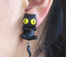 [grxjy530021]Personalized black cat earrings