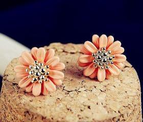 [grxjy530032]Orange flower earrings