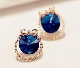 [grxjy530077]Bowknot blue diamond stud earrings