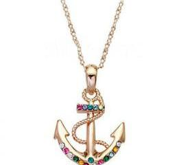 [grxjy5100089]Golden Color Diamonds anchor pendant necklace