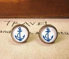 [grxjy5300116]Retro Blue Anchor earrings
