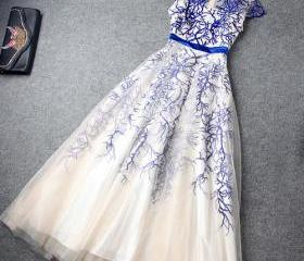 High Waist Embroidery Evening Dress Layered Ruffled Skirt [grxjy560903]