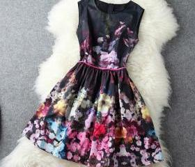 Vintage Baroque Floral Print Gathered Waist Tunic Tank Skater Dress[grxjy560935]