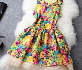 Bright Colors Flowers Print Bodycon Tank Dress Flared Skirt [grxjy560988]