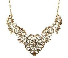 Vintage Cut Out Flower Vine Pendant Chain Choker Necklace [grxjy5100229]