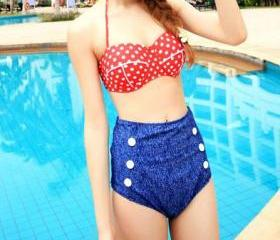 Pushup Halter Bra Top and High Waist Panties Bikini Set Swimsuit [grxjy561175]