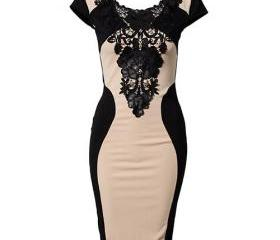 Contrast Color Black Lace Flower Cap Sleeve Bodycon Dress [grxjy561285]