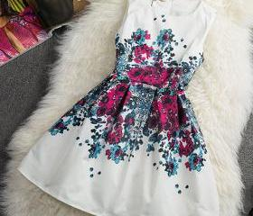 Vintage Charming Contrast Color Floral Print Sleeveless A-lined Dress[grxjy560970]