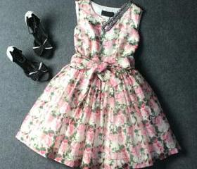 Sweet Floral Print Bowknot Wrinkle Sleeveless Tutu Dress [grxjy561645]