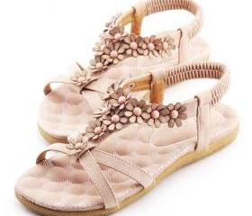 Beaded Flower Decoration Pink Flat Open Toe Slingback Sandal [grxjy5190561]