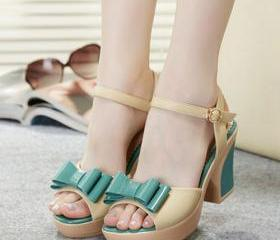 Candy Color Bowknot Flower Peep Toe Wedge Platform Sandal [grxjy5190572]