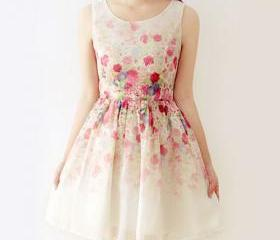 Fresh Style Floral Print Sleeveless Gathered Waistline Dress [grxjy561797]