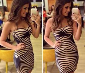 Sexy Strapless Stripes Slim Fit Package Hip Dress [grxjy56002519]