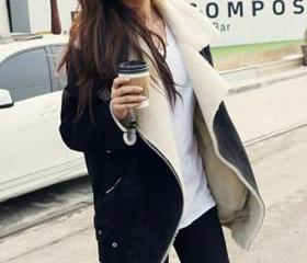 Fashion Polyester Sherpa Long Sleeve Warm Coat [grxjy56002546]