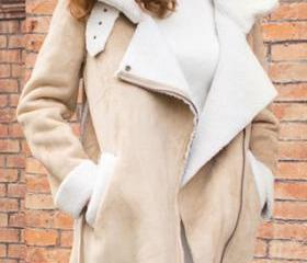 Fashion Lapel Faux Suede Long Sleeve Warm Coat [grxjy56002758]