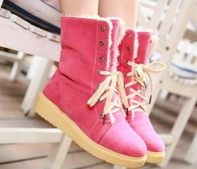 Fashion Round Toe Flat Heel Lace Up Snow Boots [grxjy51907588]
