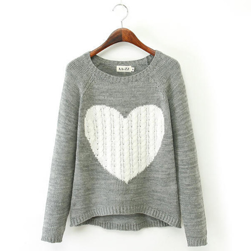 Round Neck Sweater Knitting Pattern : Fashion Heart Pattern Round Neck Long Sleeve Knitting Sweater [grxjy56002551]...